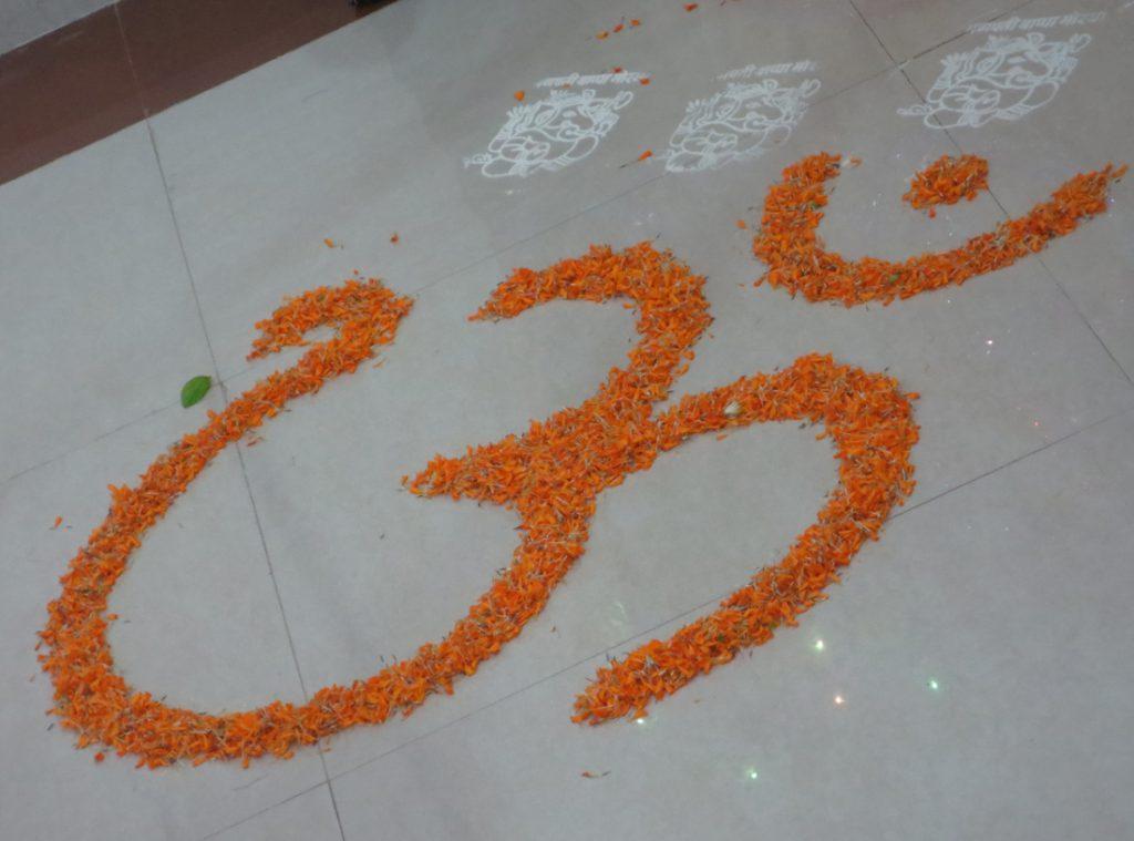 Beautiful Rangoli made with flowers